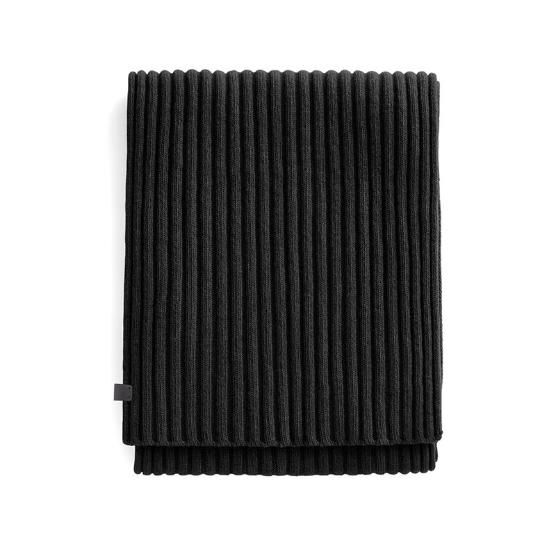 Men's Wool Cashmere Ribbed Scarf in Black