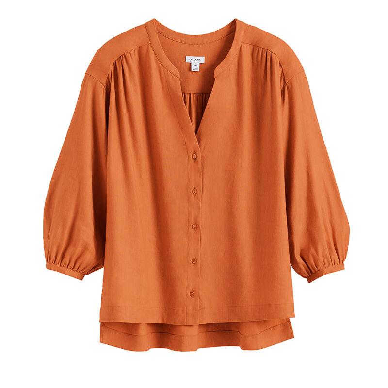 Linen Button Front Blouse, Burnt Orange, large