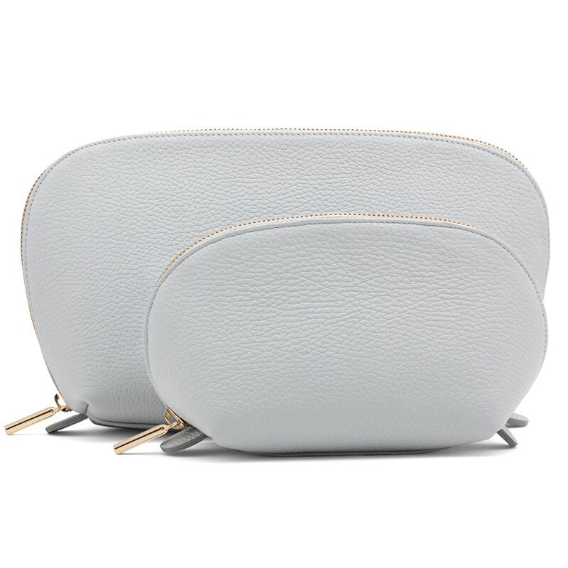 Leather Travel Case Set in Pearl Grey