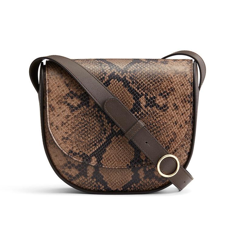 Modern Saddle Bag in Brown Snake