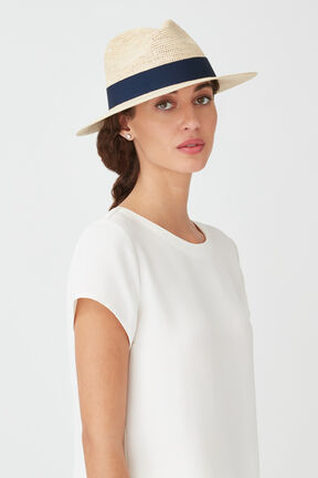 Folding Panama Hat, Natural/Navy, plp