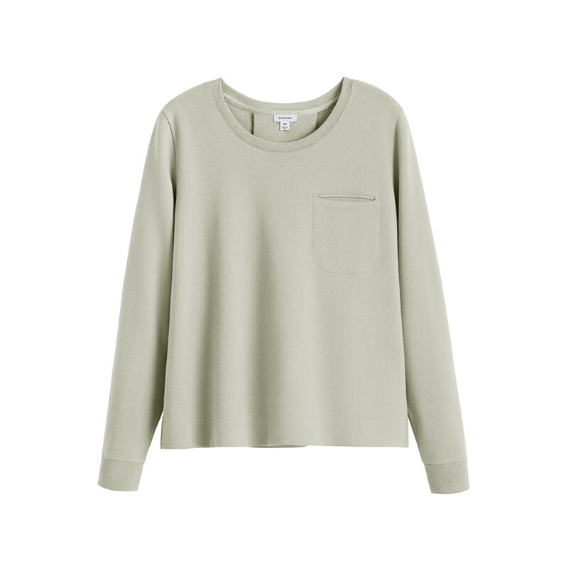 French Terry Pleat-Back Sweatshirt, Sage, large