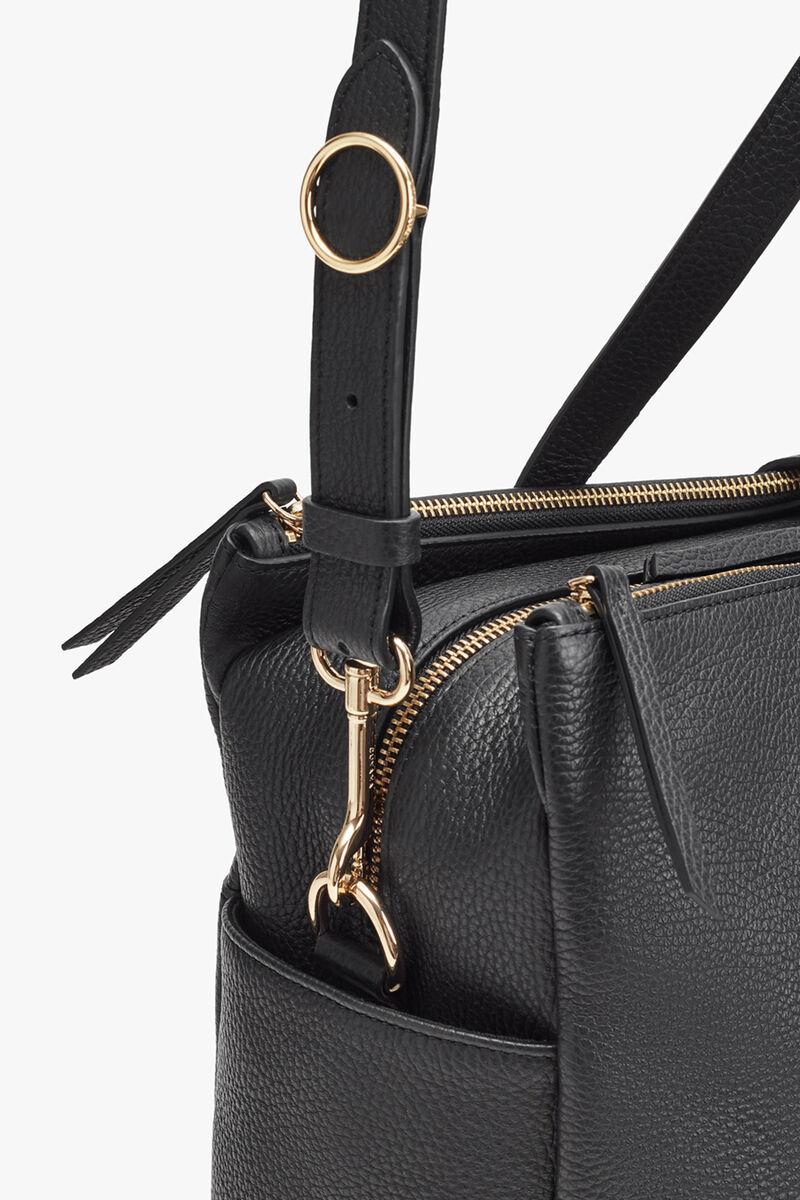 Leather Triple Zipper Overnight in Black