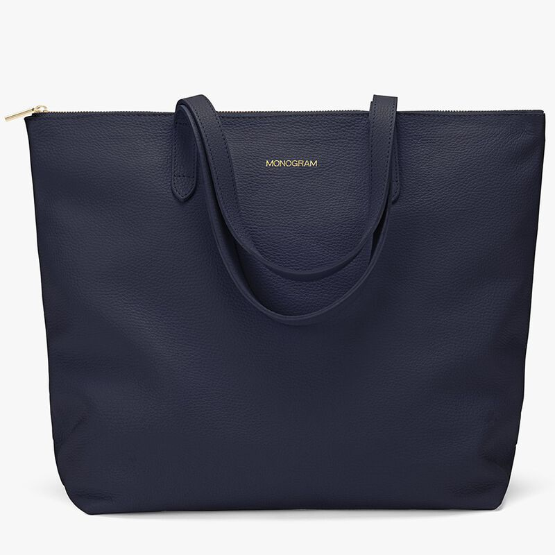 Classic Leather Zipper Tote in Navy