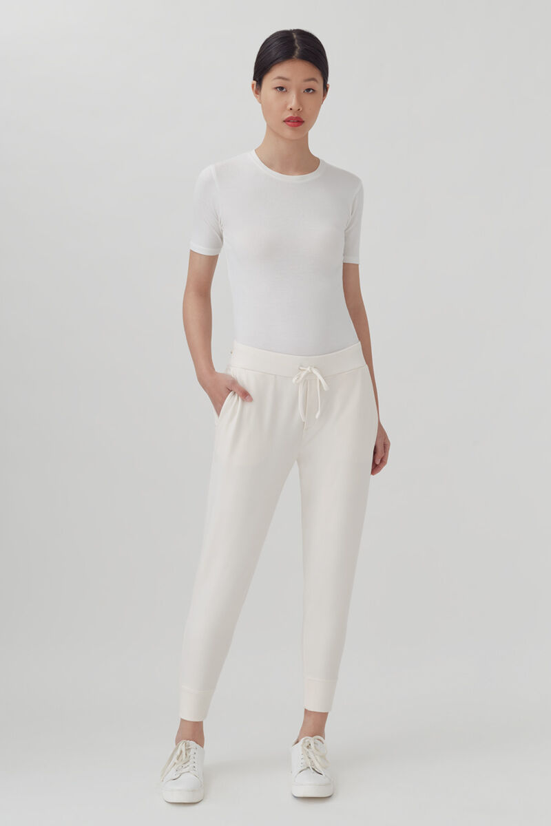 French Terry Tapered Lounge Pant Ecru