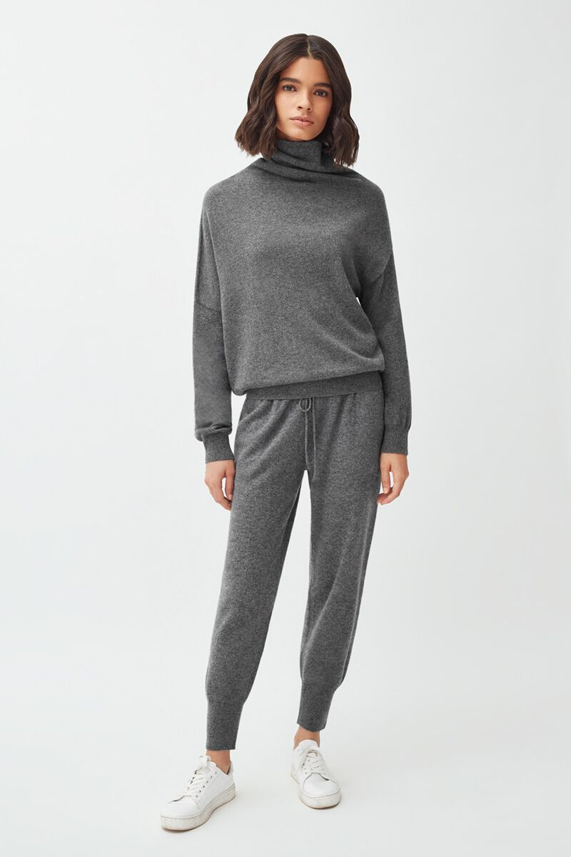 Cashmere Tapered Pant in Charcoal