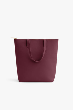 Tall Structured Leather Zipper Tote