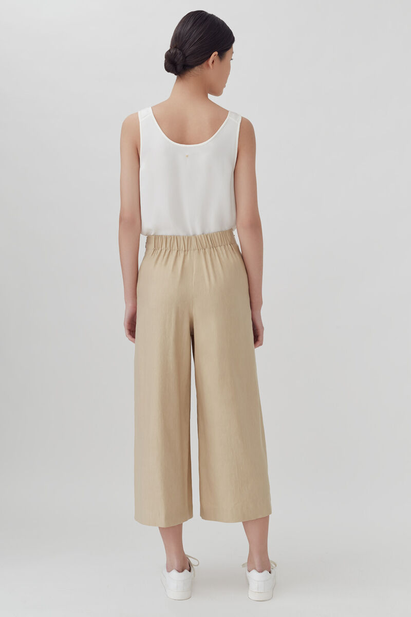Linen Wide-Leg Cropped Pant in Natural