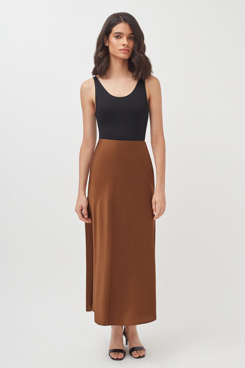Charmeuse Midi Skirt in Chestnut