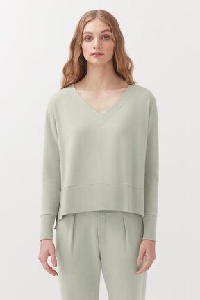 French Terry V-Neck Sweatshirt, Sage, plp
