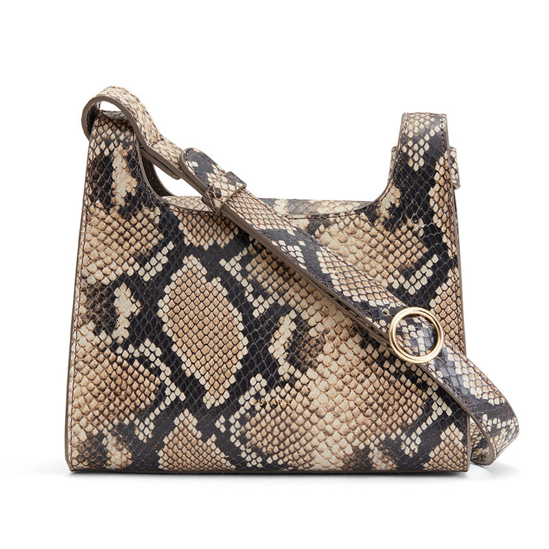 Mini Double Loop Bag, Natural Snake, large