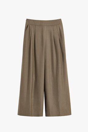 Linen Wide-Leg Cropped Pant