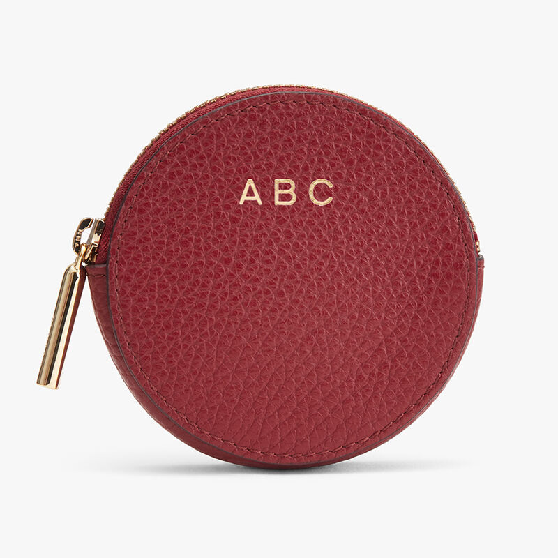 Leather Coin Pouch in Ruby