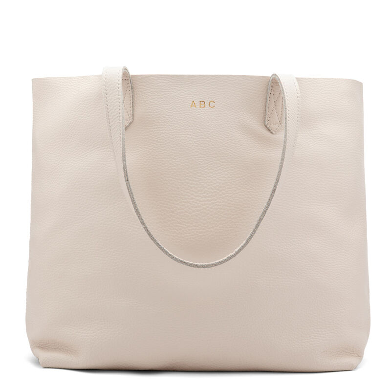 Classic Leather Tote in Ecru
