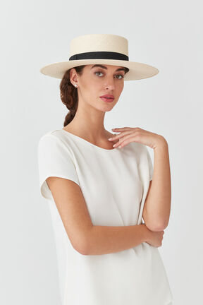 Straw Bolero Hat, Natural/Black, plp