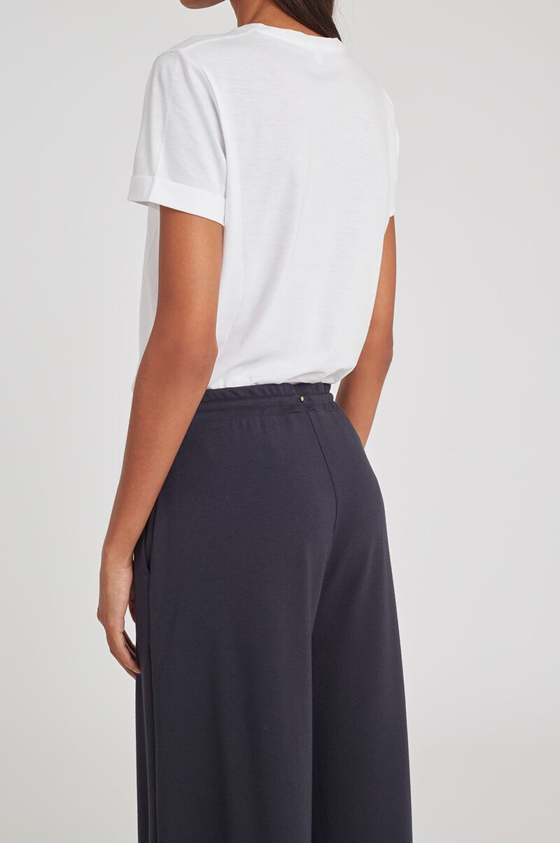 French Terry Wide Leg Pant in Midnight