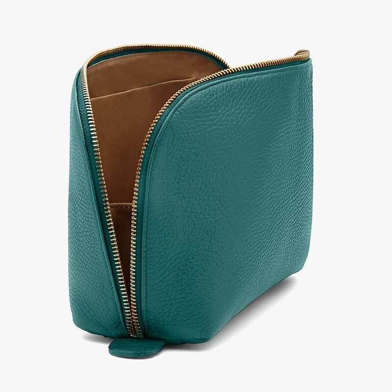 Leather Travel Case Set in Jade