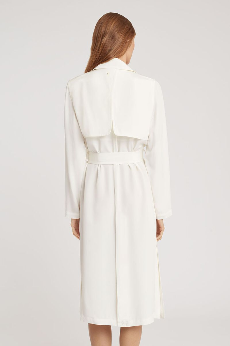 Silk Classic Trench in White