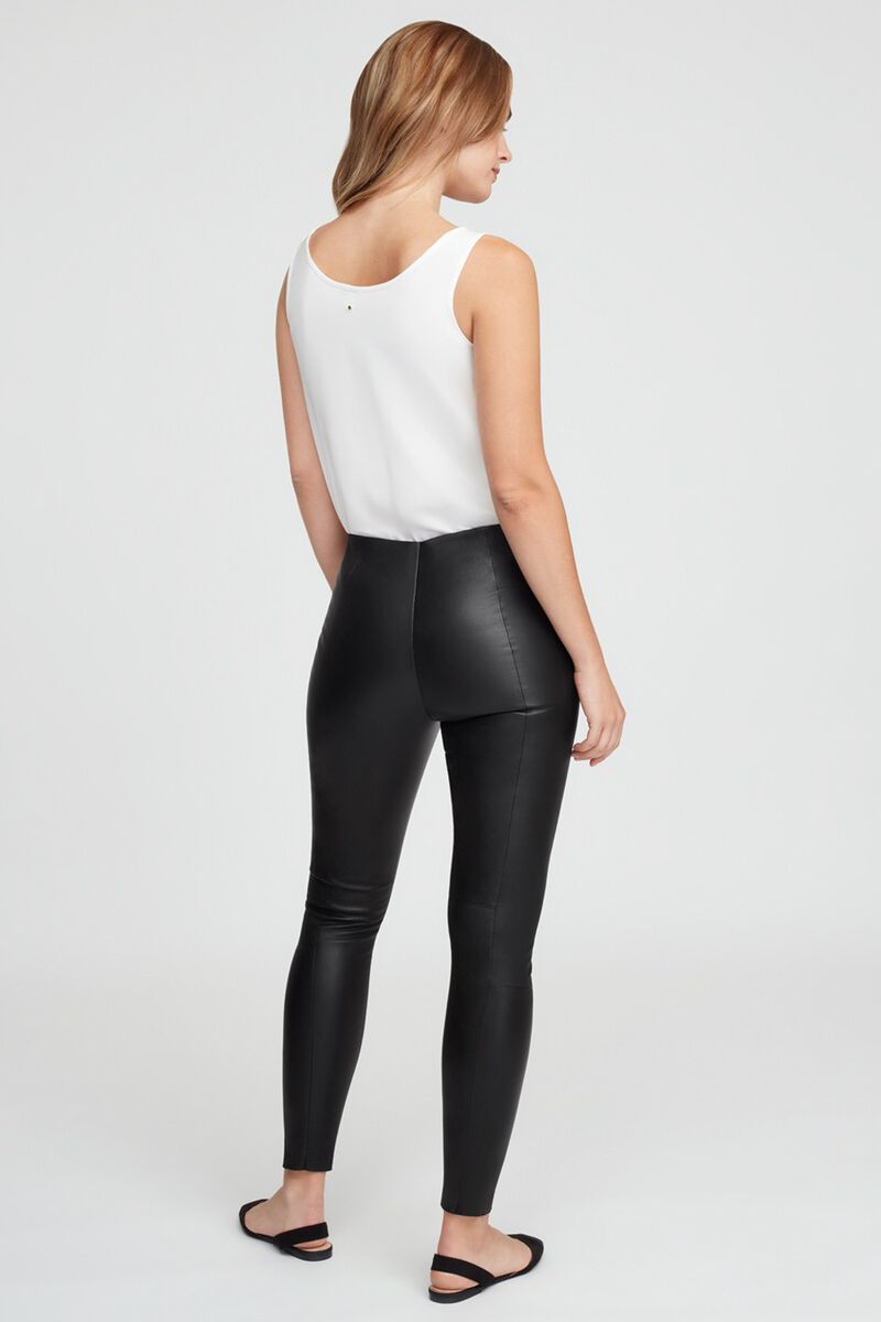 Stretch Leather Leggings in Black