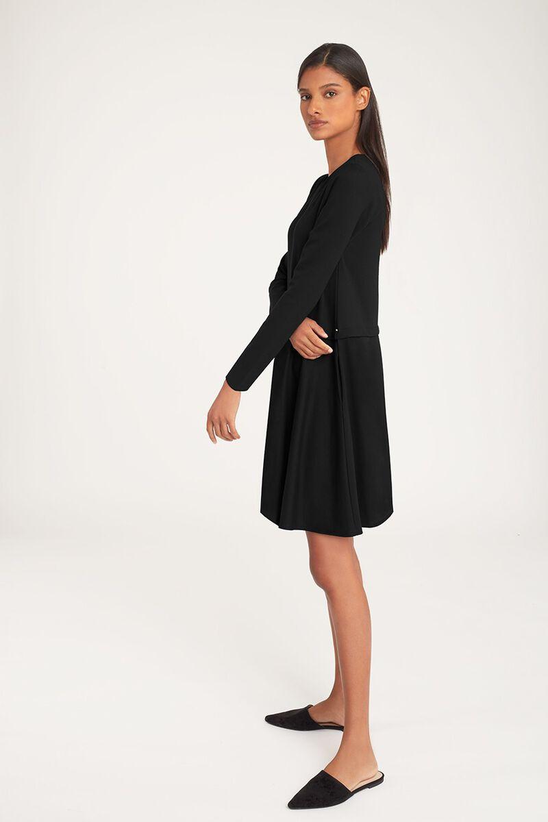 Ponte Long Sleeve Dress in Black