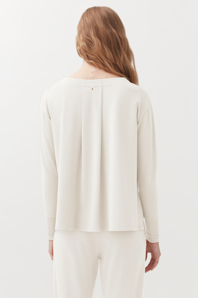 French Terry V-Neck Sweatshirt, Ecru, large