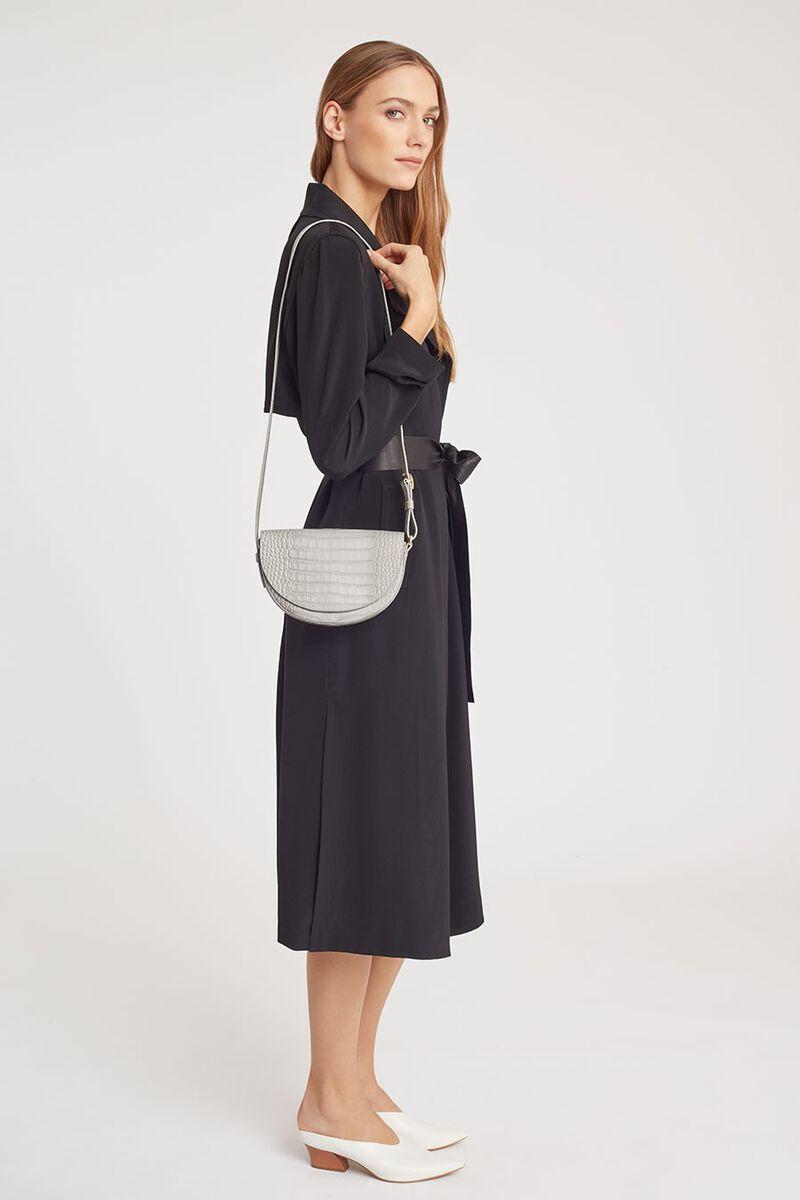 Croc-Embossed Half-Moon Mini Bag in White
