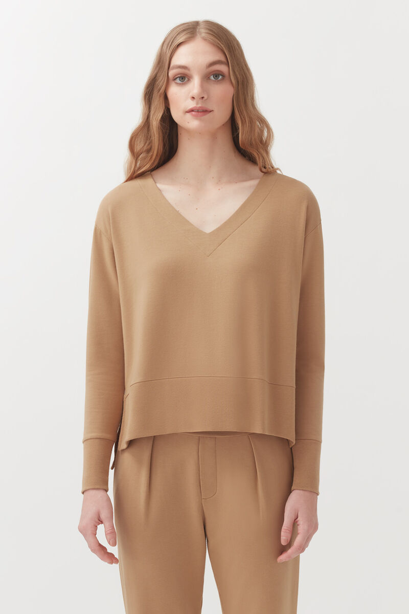 French Terry V-Neck Sweatshirt in Camel