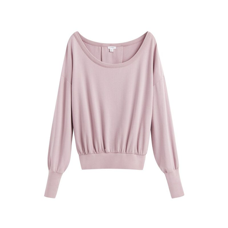 French Terry Boatneck Sweatshirt in Dusty Lilac