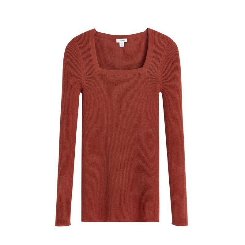 Cotton Cashmere Square Neck Rib Sweater in Terracotta