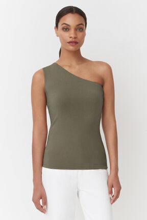 Slim One Shoulder Top, Olive, plp