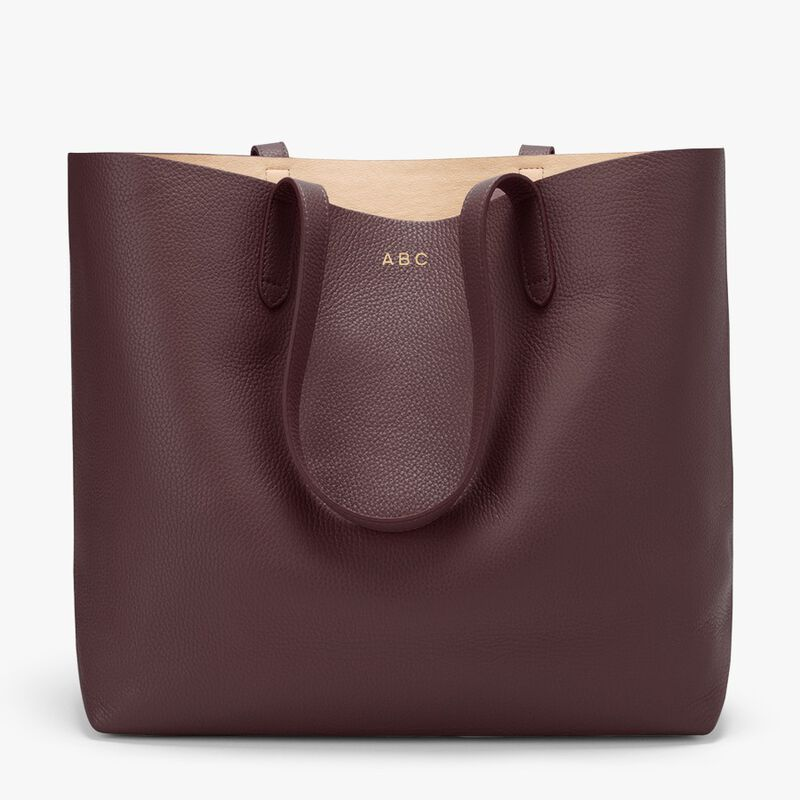 Classic Structured Leather Tote in Burgundy/Blush