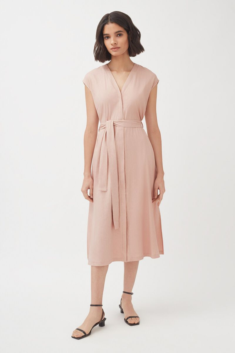 Linen Button Front Dress in Soft Rose