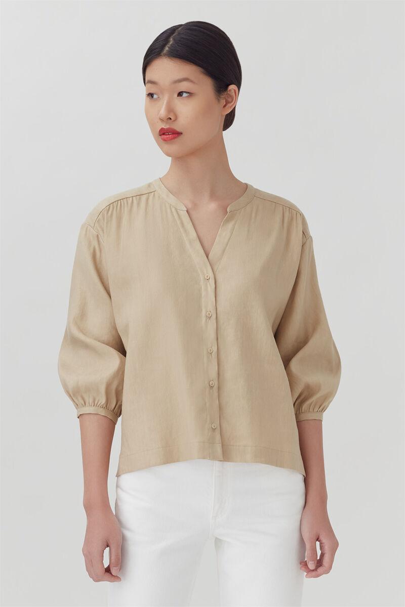 Linen Button Front Blouse, Natural, large