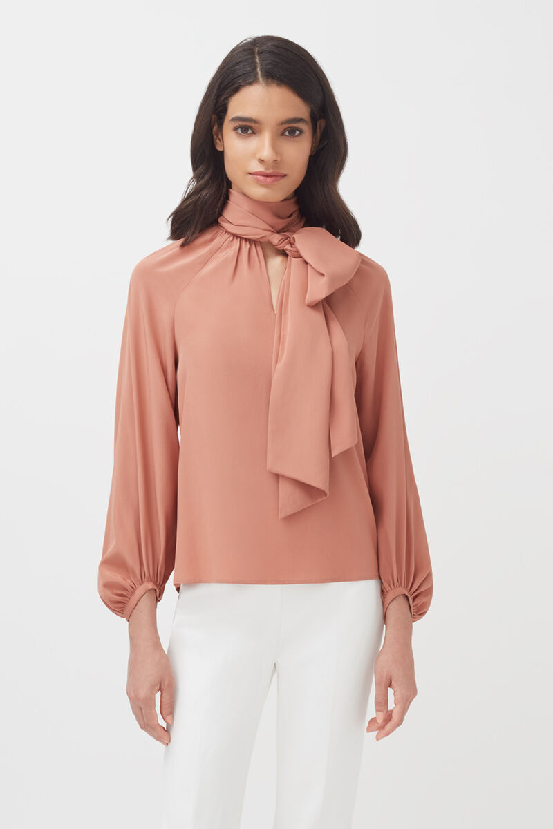 Silk Bow Blouse in Peony