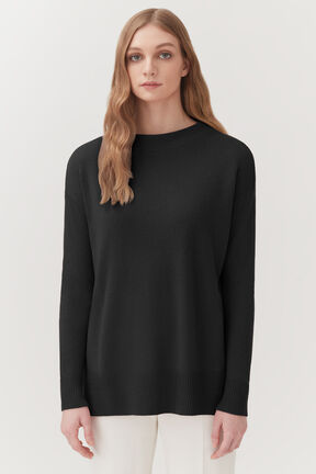 Single-Origin Cashmere Funnel Neck in Black