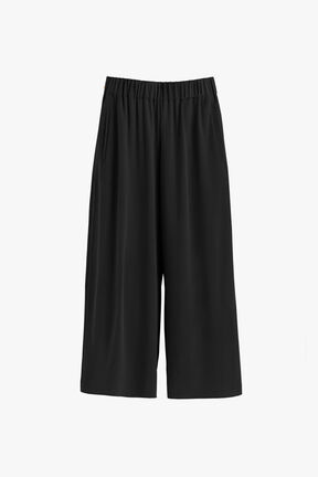 Washable Silk Wide-Leg Cropped Pant
