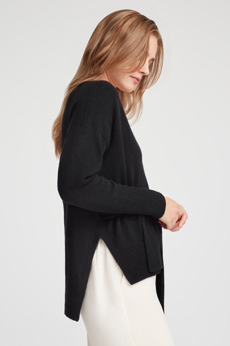 Recycled Cashmere Soft Wrap Sweater in Black