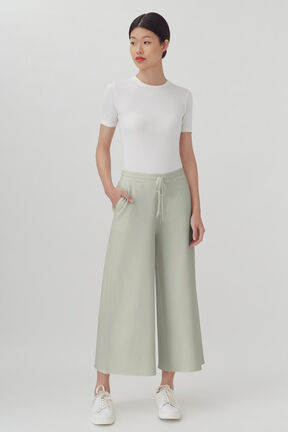 French Terry Wide-Leg Cropped Pant, Sage, plp