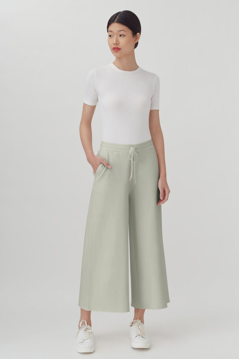 French Terry Wide-Leg Cropped Pant, Sage, large