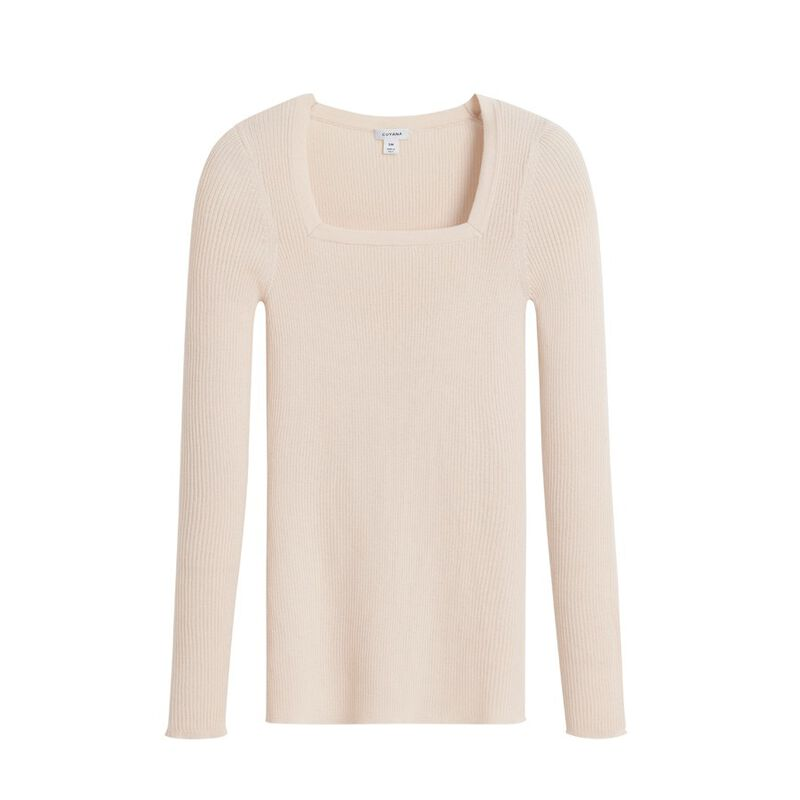 Cotton Cashmere Square Neck Rib Sweater in Sand