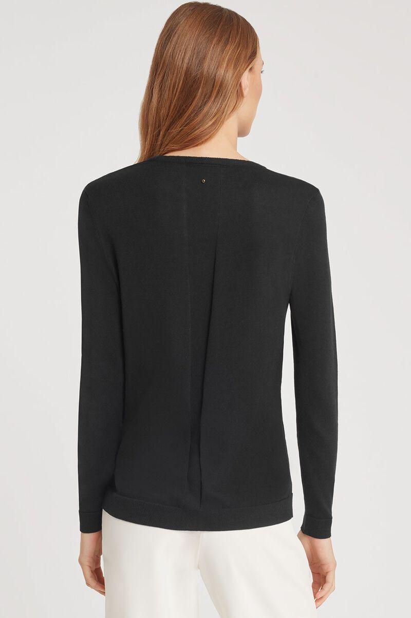 Classic Cotton Cashmere Crewneck Sweater in Black
