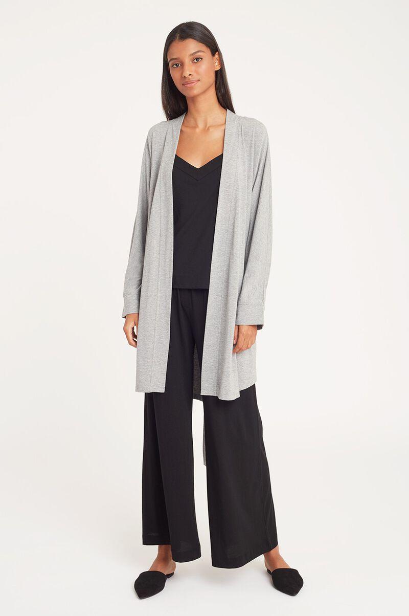 Pima Modal Robe in Heather Grey