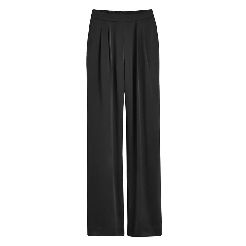 Charmeuse Wide-Leg Pant in Black
