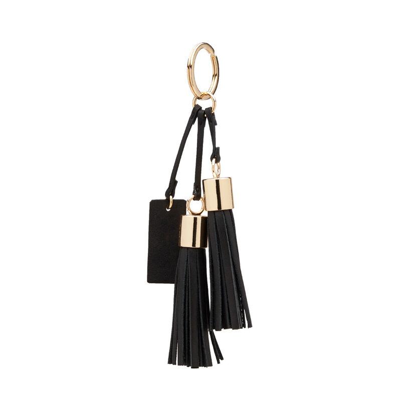 Leather Tassel Keychain in Black