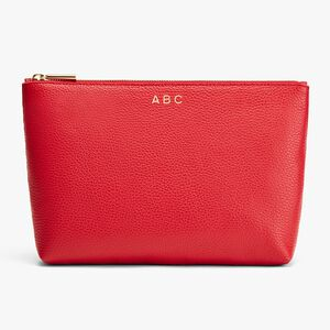 Medium Leather Zipper Pouch, Red, mono-gallery