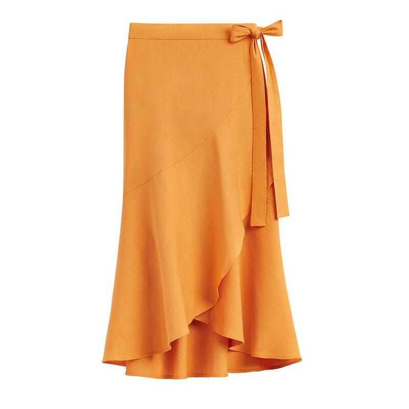 Linen Ruffle Wrap Skirt in Mango