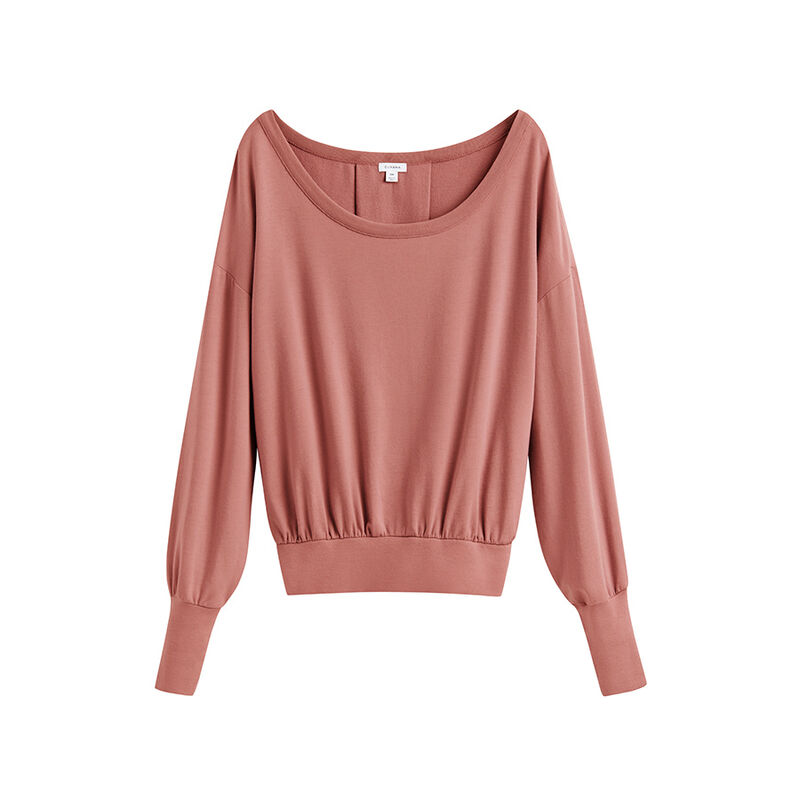 French Terry Boatneck Sweatshirt in Passion Fruit