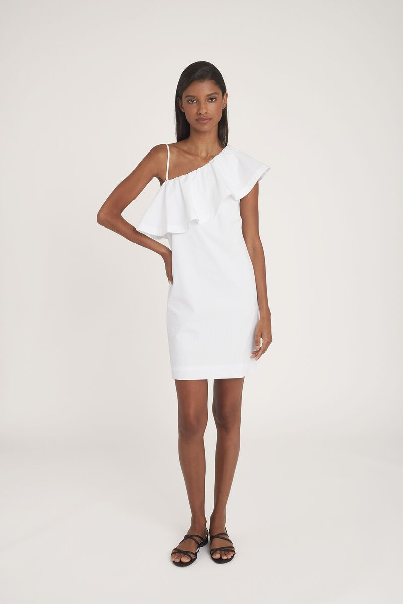 Seersucker One-Shoulder Dress in White