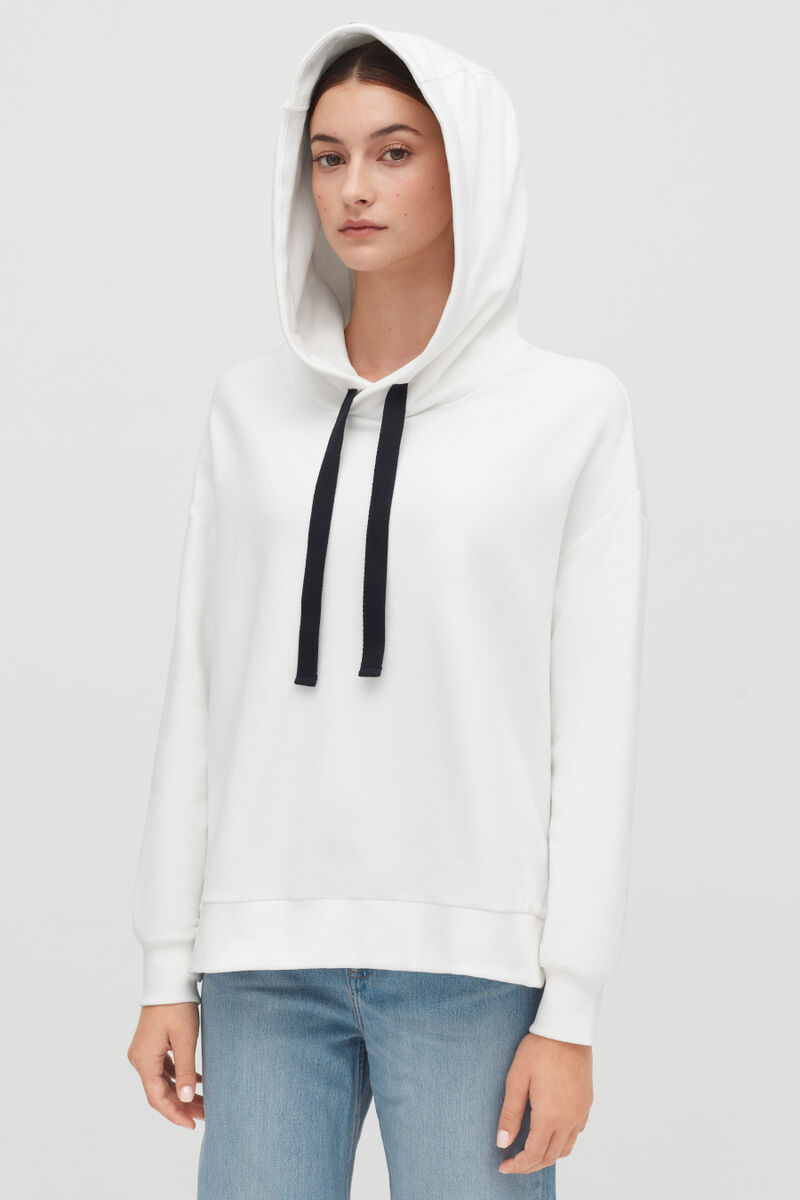 White Fleece Hoodie on model with hood up from front
