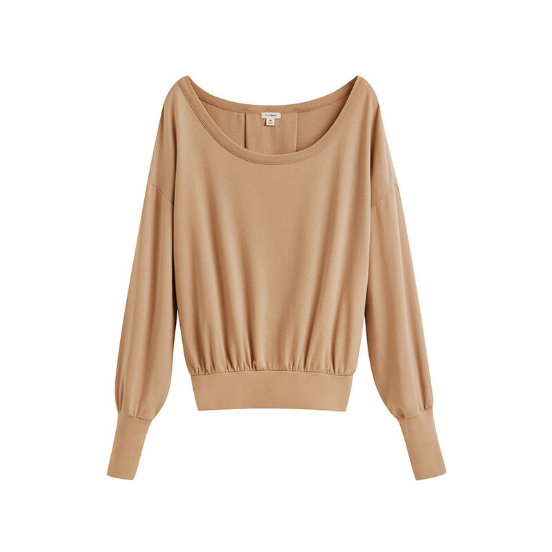 French Terry Boatneck Sweatshirt in Camel